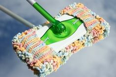 Swiffer Cover with Baseboard Dusters. It is crocheted! How nifty is this?!?