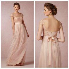 Gorgeous Scoop A-line Cap Sleleve Lace Bridemaid Dress Blush Bridesmaid Dresses LS08143, $96.34 | DHgate.com