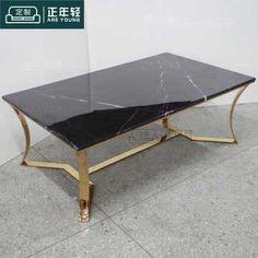 简约长方形黑白根大理石金属茶几不锈钢茶桌 样板房酒店家具定制