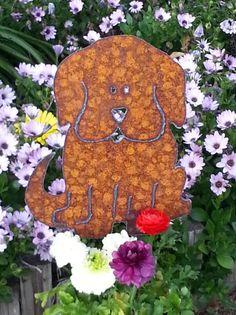 Dog silhouette Metal Art Garden Decor Rusty Yard Art Hand Cut Plasma Metal Garden Art