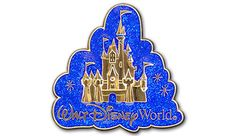 Cinderella Castle shines bright on this open edition blue and gold Walt Disney World® pin. #DisneyPinTrading
