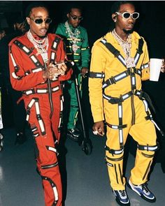 The Migos: Quavo, Offset And Takeoff Perform Wearing Custom Tripp NYC Jumpsuits Hip Hop And R&b, Hip Hop Rap, Migos Wallpaper, Migos Rapper, Migos Quavo, Popular Rappers, Balenciaga Jacket, Rapper Art, Rap God