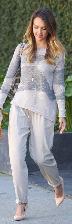 Who made  Jessica Alba's gray and white sweater?