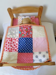 Doll's quilt with pillow  hand quilted with purple door djinda, $35.00