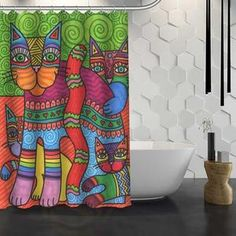 Multi-variations Cat Story Shower Curtain Cat Shower Curtain, Have Some Fun, Vibrant Colors, Curtains, Blinds, Vivid Colors, Draping, Picture Window Treatments, Window Treatments