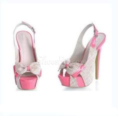 #Sweet Matching #Color Peep-toe Platform #Sandals with #Bowtie