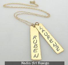 Zwei Namen Halskette / Goldene Betelkette von NadinArtDesign auf DaWanda.com