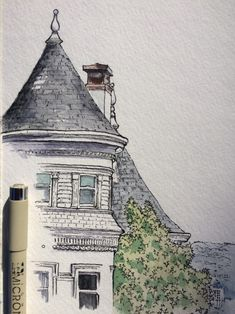 ▶ Universe of Art City Sketch, House Sketch, Ap Drawing, Drawing Sketches, Pen And Watercolor, Watercolor Paintings, Dream House Drawing, Building Art, Sketch Painting