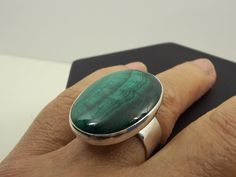 MALACHITE Sterling SILVER RING Cabochon 30 x 22  by StyleCenter, $78.00