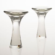TAPIO WIRKKALA - A pair of glass candlesticks signed 'Tapio Wirkkala -3412' for Iittala, Finland. [h. 14 cm] Glass Candlesticks, Wine Decanter, Finland, Barware, Glass Art, Ceramics, Vintage, Tableware, Design