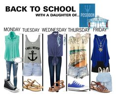 """Back to School with a daughter of Poseidon"" by carogfangirl ❤ liked on Polyvore"