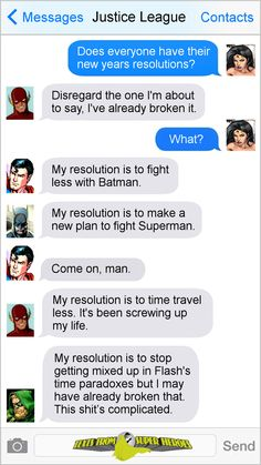 Funny, but I don't think Barry screws up the timeline that much in the comics. he did it once with Flashpoint and created the new but I don't know if he did anything else Marvel Funny, Marvel Memes, Marvel Dc Comics, Funny Comics, Marvel Avengers, Superhero Texts, Texts From Superheroes, Deadpool, Comic Text
