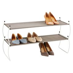 Umbra White Carrie Stackable Shoe Shelf | The Container Store