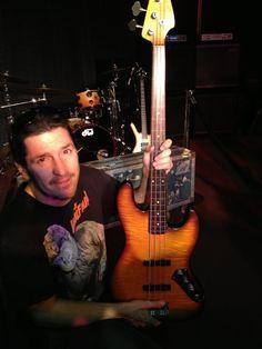 "Frank Bello with Jaco's ""bass of doom"""