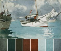 August 2012 Challenge Color Palette via Art Bead Scene :: Fishing Boats, Key West by Winslow Homer