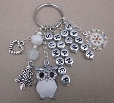 Gift Personalised OWL Keyring Bag Dangler Key Ring Bag Charm Christmas Keepsake