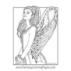 Yetinne By Ina Jane Angel Fantasy Myth Mythical Legend Wings Warrior Valkyrie Anjos Goth Gothic Coloring Pages Colouring Adult Detailed Advanced Printable