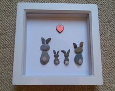 Your place to buy and sell all things handmade Pebble Pictures, Art Pictures, Rock And Pebbles, Diy Ostern, Rabbit Art, Rock Crafts, Box Frames, Pebble Art, Stone Art