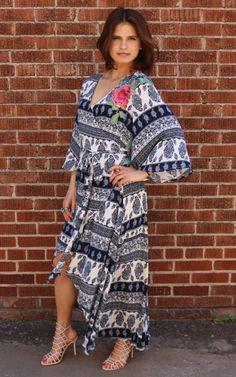 21d7df9be87 Beauty Bash Wrap Dress - Blue Combo