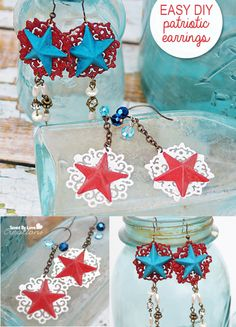 Easy Epoxy Clay Jewelry DIY Patriotic Earrings @savedbyloves Pin