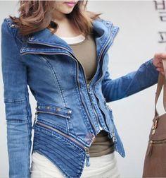 Long Sleeves Lapel Stud Embellished Asymmetrical Hem Zippers Pockets Fashionable Women's Coat