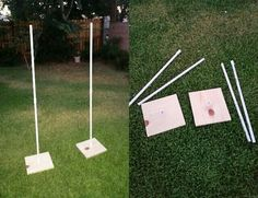 Made out of wooden base and pvc pole. Fully detachable from base