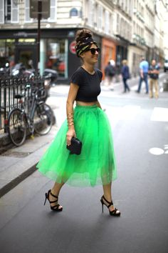 Vintage Crop Top, Romwe Lime Green Tutu Skirt, Vintage Scarf (tied into hair), ASOS Sunglasses, Jimmy Choo Strappy Sandals & Vintage Box Clutch