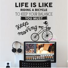 vinilo decorativo frase Life Is Like Riding A Bicycle