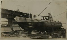 This photo was taken in the floating dry dock at the New Orleans Navy Yard. UB-88 had to wait two weeks for this dry dock to become available to effect repairs to her propeller shaft strut bearings.   Taken between July 14 and July 22, 1919