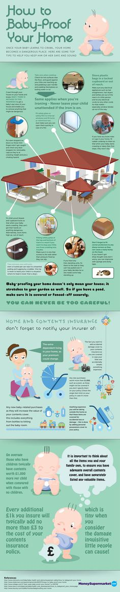 Another baby proofing checklist infographic. This one offers home safety tips for the time when the baby starts getting around better. Baby Safety, Child Safety, Cool Diy, Home Safety Tips, Baby Care Tips, Childproofing, Everything Baby, Baby Time, Baby Hacks