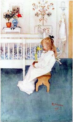 """lisbeth with yellow tulip"" by carl larsson"