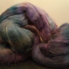Alpaca Handpainted Roving Combed Top Superfine 100% PURPLEBLUE spin felt 56 gram by PlumCrazyFiberArt on Etsy