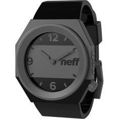 Neff Black/Grey Silicone Stripe Wrist Watch