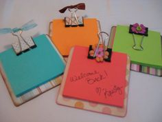 Sticky note holders - make using coaster, binder clips