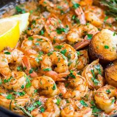 Garlic Butter Shrimp with Lemon | Best Ever Recipe! Lemon Butter Shrimp, Buttered Shrimp Recipe, Lemon Garlic Butter Sauce, Chicken And Shrimp Recipes, Baked Salmon Recipes, Garlic Shrimp, Beef Kabob Recipes, Cooking Recipes, Campbells Soup Recipes