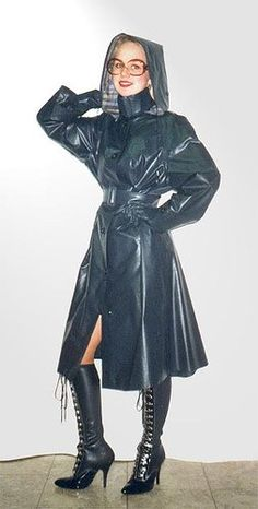 Black Rubber Hooded Raincoat My wife had a similar outfit (with the boots too)