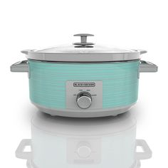 Black+decker 7 Quart Dial Control Slow Cooker with Built in Lid Holder, Teal Pattern, Blue Aqua Kitchen, Turquoise Kitchen, Vintage Kitchen, Kitchen Dining, Kitchen Black, Kitchen Ware, Stoneware Crocks, Specialty Appliances, Easy Delicious Recipes