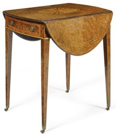 c1780 A George III yew-wood and inlaid oval Pembroke table circa 1780 Estimate     10,000 — 15,000  GBP 15,604 - 23,406USD LOT SOLD. 18,750 GBP (29,258 USD) (Hammer Price with Buyer's Premium)
