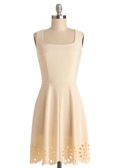 Eyelet Getaway Dress - Sheer, Knit, Ponte, Mid-length, Cream, Solid, Cutout, Casual, A-line, Sleeveless, Good
