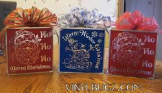 Glass blocks, made by Vinyl Bugz, using my Beautiful Santa File and Snowman Filigree files.  You can find more of her work on her facebook fan page!