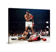 Muhammad Ali wall art knockout Sonny Liston Motivational Canvas Print - 18x24