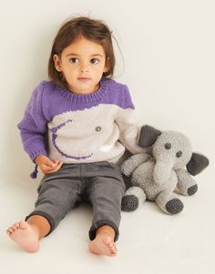 Sirdar 5375 Elephant Toy and Sweater in Sirdar Snuggly Bunny/#4 weight and Snuggly Baby Cashmere Merino DK/#3 weight Elephant Sweater, Elephant Trunk, Novelty Toys, Knitting For Kids, Dog Coats, Knit Or Crochet, Little Ones, Doll Clothes, Baby Kids