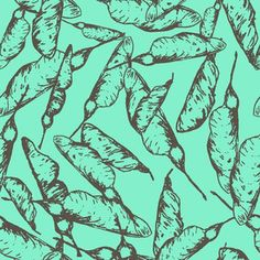 Seed pods_Teal custom fabric by andso for sale on Spoonflower Blue Leaves, Design Seeds, Seed Pods, Creative Business, Custom Fabric, Spoonflower, Fabric Design, Branding Design, Craft Projects