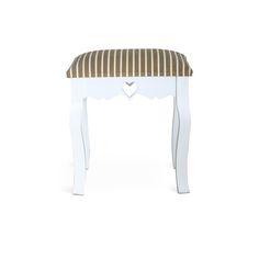 WAGNER 1 PW019 TABURETKA V BAROKOVOM STYLE/BIELA Elegantná taburetka z masívneho dreva,  Farebné prevedenie: biela + poťah sedákabéžový pásik, Rozmery: (ŠxVxH) 30x45x40 cm.