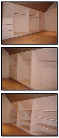 Moja: dit is ne. Attic Bedroom Closets, Attic Bedroom Storage, Attic Master Bedroom, Attic Bedroom Designs, Loft Storage, Attic Closet, Closet Designs, Large Bedroom, Closet Bedroom