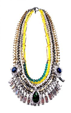Venna Crystal Drop and Metal Chain Necklace in Yellow (multi) | Lyst