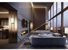 Double height lounge of the Collins House penthouse we visualised for Golden Ages new development in Melbourne's CBD. Lounge Design, Decorating Your Home, Interior Decorating, Interior Design, Design Interiors, Apartments For Sale, Best Interior, Modern Interior, Wall Design