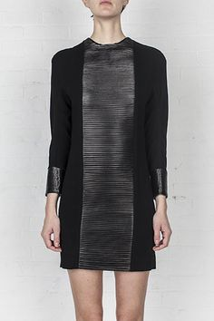 leather pleated dress
