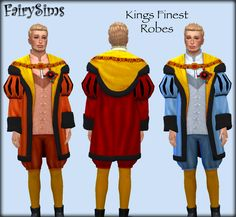 """fairysimsmedievalcreations: """" Tutor of Tudors - Kings Finest Robes • Teen - Elder • Available in 20 Swatches • Mesh needed by @cepzid here Download (OneDrive) """""""