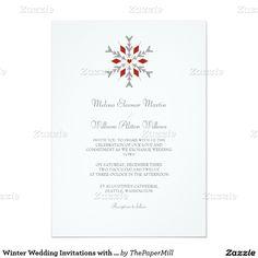"Winter Wedding Invitations with Snowflakes 5"" X 7"" Invitation Card"